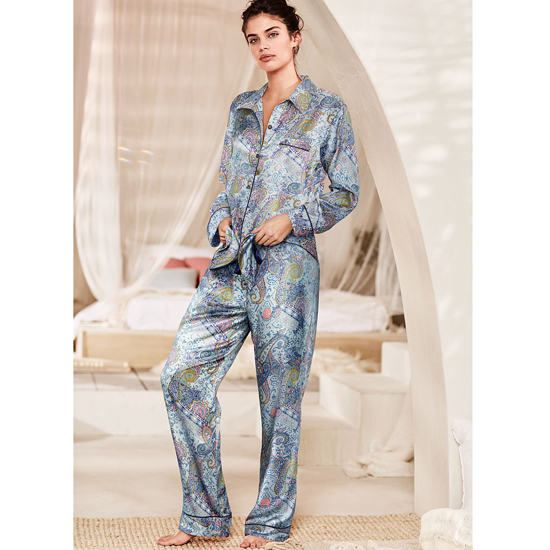 VICTORIA'S SECRET Indigo Paisley NEW! The Afterhours Satin Pajama Outlet Online
