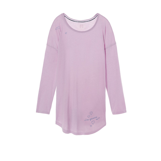 VICTORIA\'S SECRET Fair Orchid/Yours Graphic NEW! The Angel Long Sleeve Sleep Tee Outlet Online