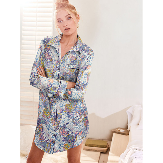 VICTORIA\'S SECRET Indigo Paisley NEW! Afterhours Satin Sleepshirt Outlet Online