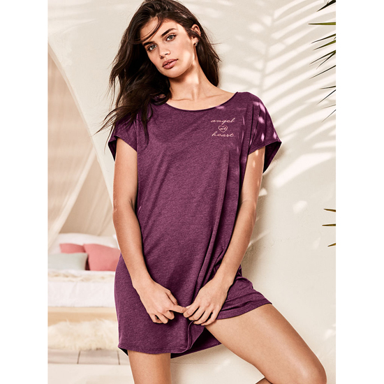 VICTORIA\'S SECRET Ruby Wine/Angel At Heart Graphic NEW! Angel Sleep Tee Outlet Online