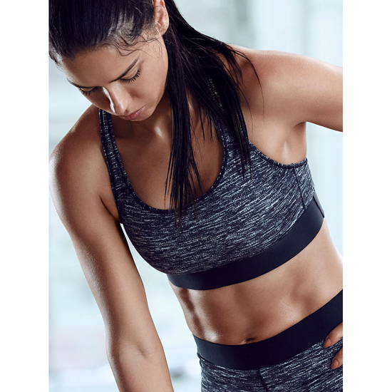VICTORIA\'S SECRET Black Marl NEW! The Player by Victoria Sport Racerback Sport Bra Outlet Online