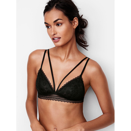 VICTORIA'S SECRET Black Strappy Crochet Lace Triangle Bralette Outlet Online
