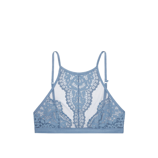 VICTORIA'S SECRET Faded Denim NEW! High-neck Halter Bralette Outlet Online