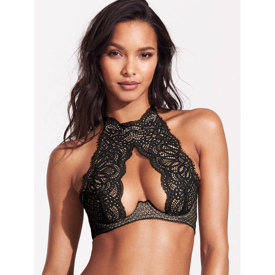 VICTORIA'S SECRET Black Lace NEW! Crochet Lace High-neck Bra Outlet Online