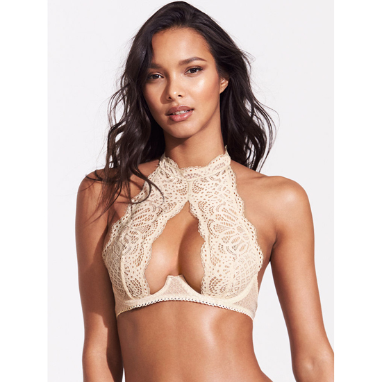 VICTORIA'S SECRET Coconut White Lace NEW! Crochet Lace High-neck Bra Outlet Online