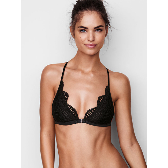 VICTORIA'S SECRET Black Allover Lace Front-close Bralette Outlet Online