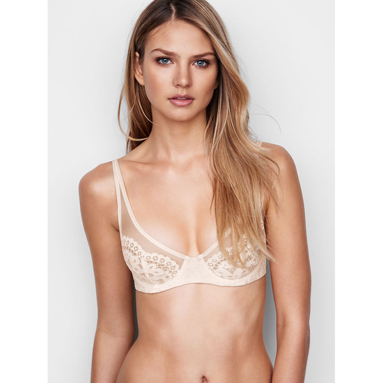 VICTORIA'S SECRET Coconut White W/ Coconut White Lace NEW! Lace Plunge Unlined Demi Bra Outlet Online