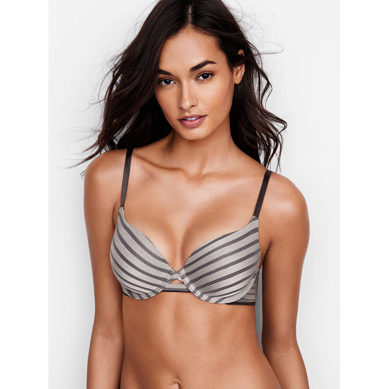 VICTORIA'S SECRET Sterling Pewter Textured Stripe Perfect Shape Bra Outlet Online