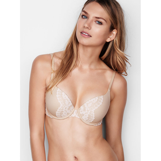 VICTORIA'S SECRET Champagne W/ Coconut White Lace NEW! Perfect Shape Bra Outlet Online