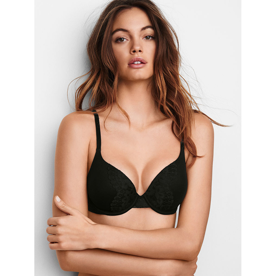 VICTORIA'S SECRET Black W/ Black Lace NEW! Perfect Shape Bra Outlet Online