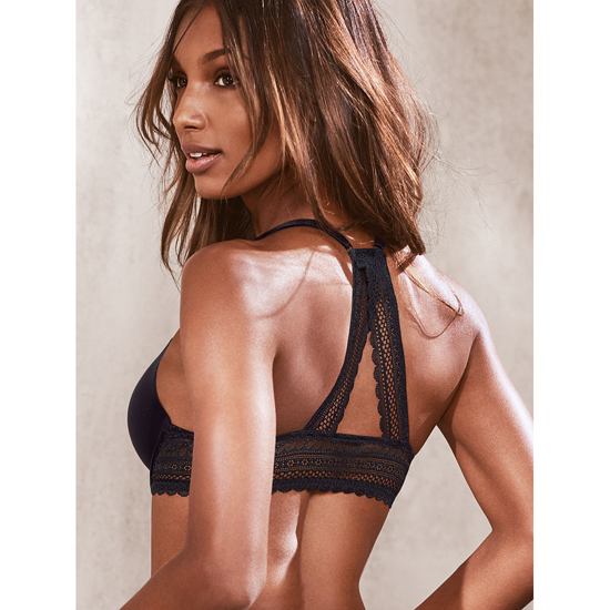 VICTORIA'S SECRET Black Triangle Lace Racerback Push-Up Bra Outlet Online