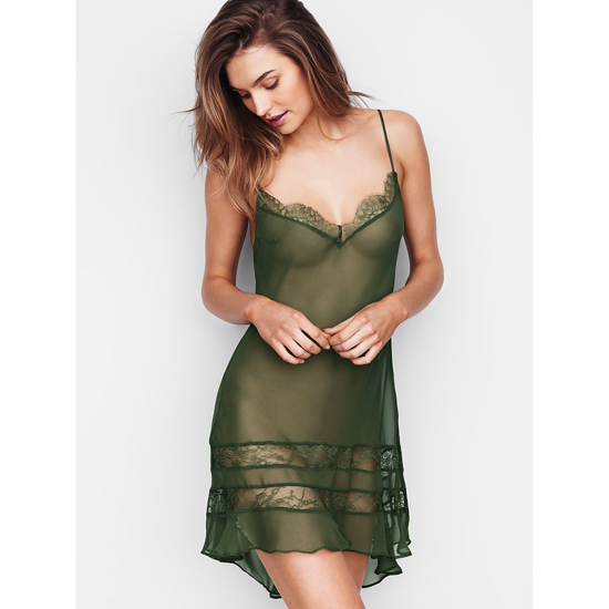 VICTORIA'S SECRET Cadette Green NEW! Chiffon & Lace Slip Outlet Online