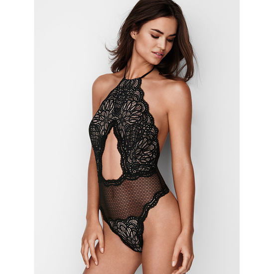 VICTORIA'S SECRET Black NEW! Cutout High-neck Teddy Outlet Online