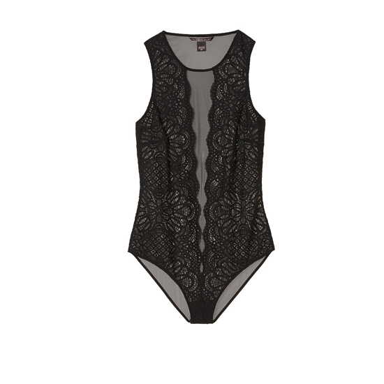 VICTORIA'S SECRET Black NEW! Lace & Mesh Bodysuit Outlet Online