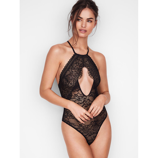 VICTORIA\'S SECRET Black NEW! Lace High-neck Bodysui Outlet Online