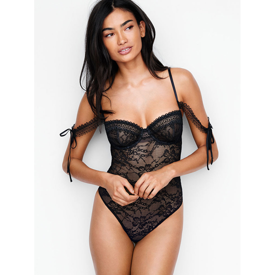 VICTORIA'S SECRET Black NEW! Lace Off-the-shoulder Bodysuit Outlet Online