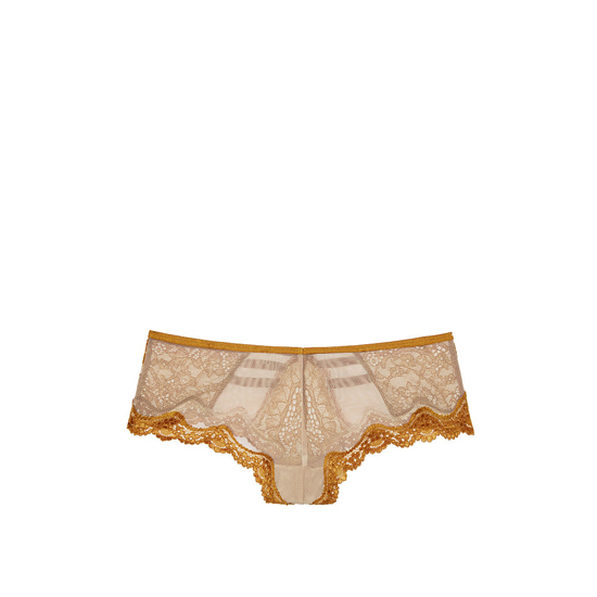 VICTORIA\'S SECRET Bronze Brown NEW! Lace & Mesh Strappy Cheeky Panty Outlet Online