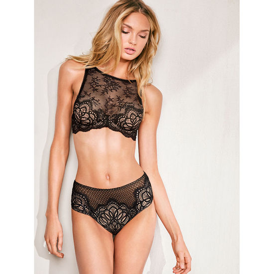 VICTORIA\'S SECRET Black NEW! Crochet Lace High-waist Cheeky Panty Outlet Online