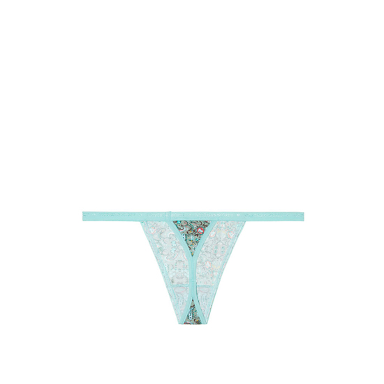 Discount VICTORIA'S SECRET Aqua Small Floral Print NEW! V-string Panty Online