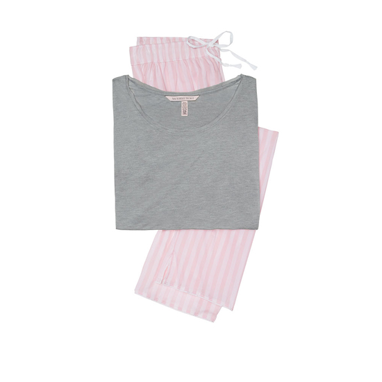 Discount VICTORIA'S SECRET Medium Heather Grey/Pink Stripe NEW! The Mayfair Tee-jama Online