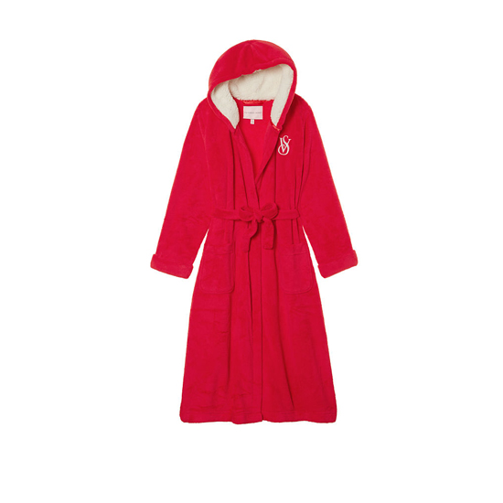VICTORIA'S SECRET Bright Cherry NEW! The Cozy Hooded Long Robe Outlet Online