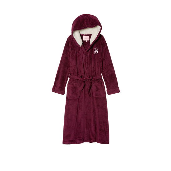 VICTORIA'S SECRET Ruby Wine NEW! The Cozy Hooded Long Robe Outlet Online