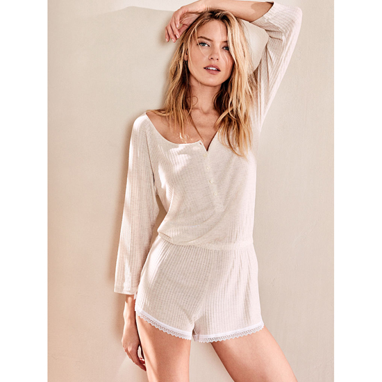 VICTORIA\'S SECRET Natural Heather NEW! Ribbed Sleep Romper Outlet Online