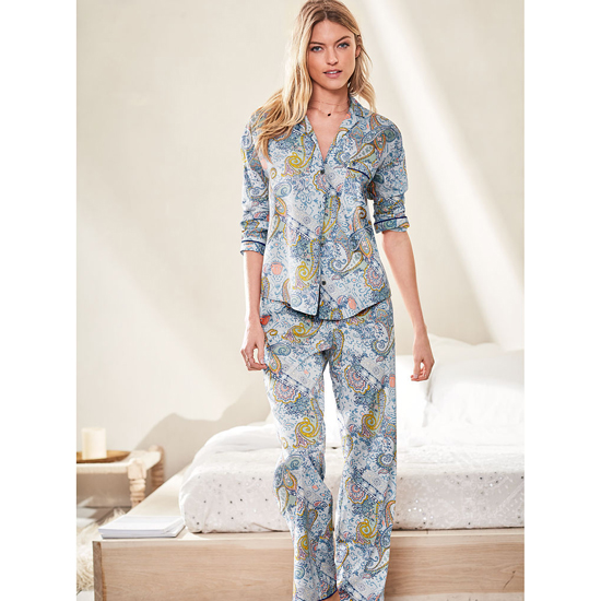 VICTORIA'S SECRET Indigo Paisley NEW! The Mayfair Pajama Outlet Online