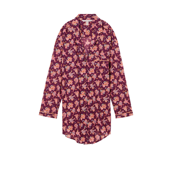 VICTORIA'S SECRET Ruby Wine Paisley NEW! The Mayfair Sleepshirt Outlet Online