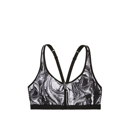 VICTORIA\'S SECRET Black/White Blended Swirl NEW! Knockout by Victoria Sport Front-Close Sport Bra Outlet Online